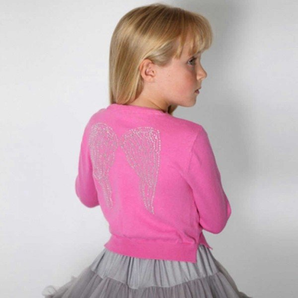 ca0d5d294a Angel's Face Girls Diamante Wings Cardigan in Bright Pink | Dashin ...