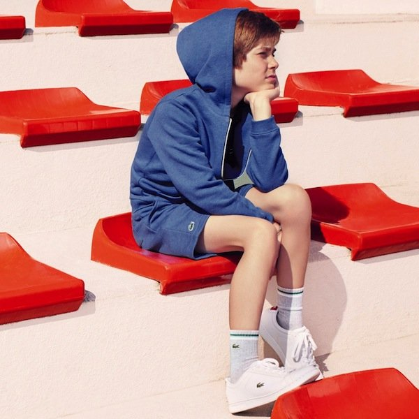 shop LACOSTE Blue Jersey Hooded Zip-Up Top