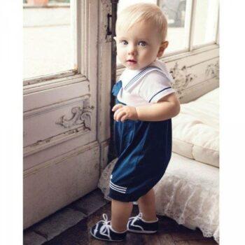 shop look ALETTA Baby Boys Navy Blue & White Sailor Shortie