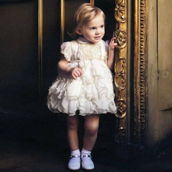 Aletta Limited Edition Ivory & Gold Chiffon & Mohair Dress