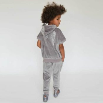 shop look ANGEL'S FACE Grey Velour Hooded Top