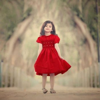 shop look ANNAFIE Hand-Smocked Red Silk Dress