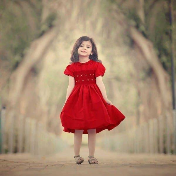 shop look ANNAFIE Hand-Smocked Red Silk Dress