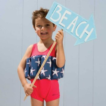 shop look ARCHIMEDE Boys Red & Starfish 'Learn To Swim' Float Suit