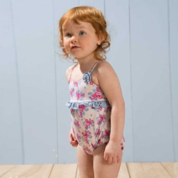 shop look ARCHIMEDE Girls Pink Floral Swimsuit with Nappy