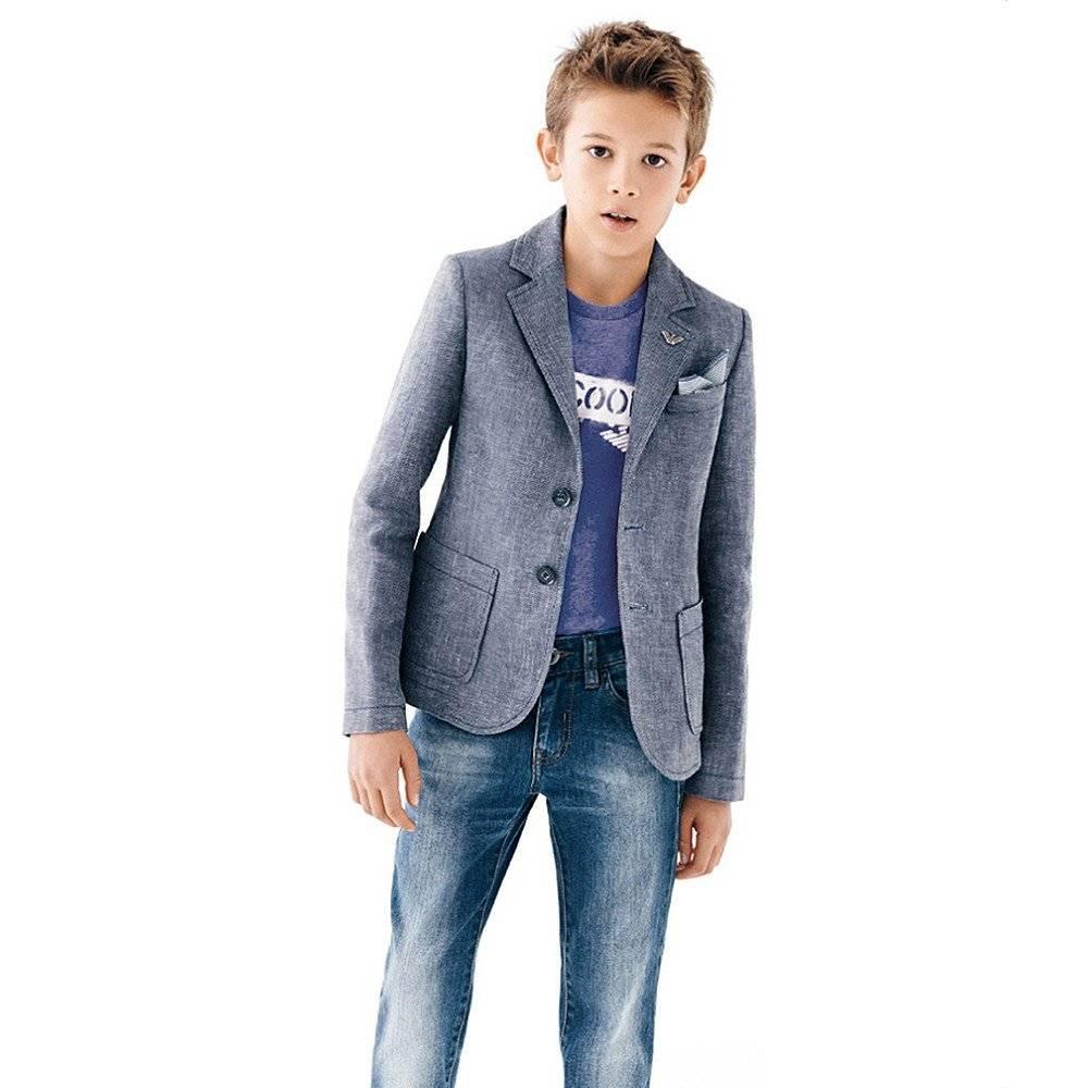 shop look ARMANI TEEN Boys Blue Linen Blazer