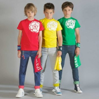 shop look BIKKEMBERGS Boys Red Football Print T-Shirt