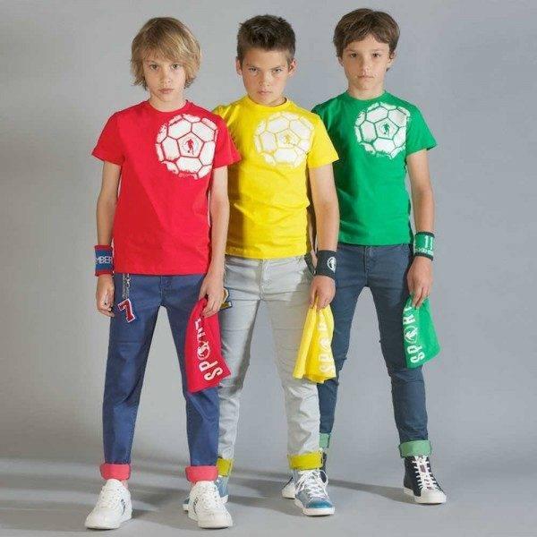 shop look BIKKEMBERGS Boys Red Football Print T-Shirt