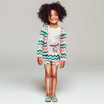 shop look BILLIEBLUSH Girls Knitted Cotton Zigzag Cardigan