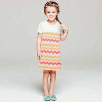 shop look BILLIEBLUSH White & Orange Knitted Cotton Zigzag Dress