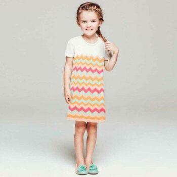 shop look BILLIEBLUSH White & Orange Knitted Cotton Zigzag Dress