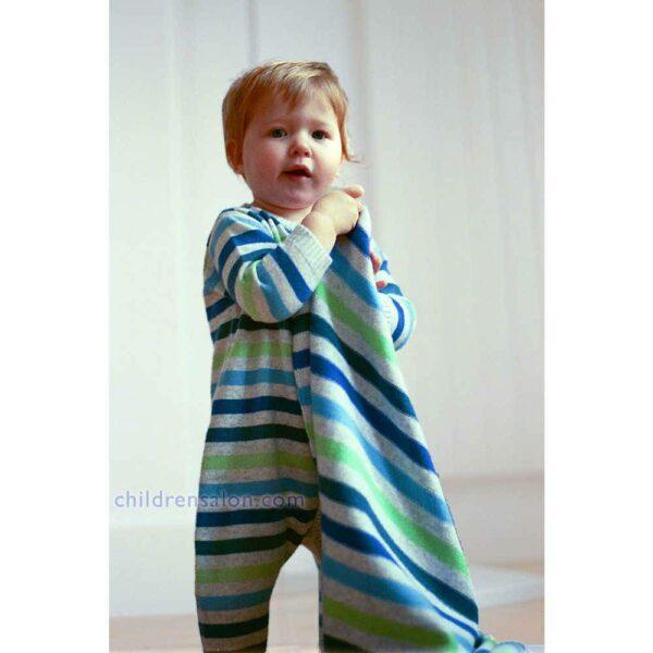 shop look BONNIE BABY Baby Boys Blue Stripe Cashmere Romper