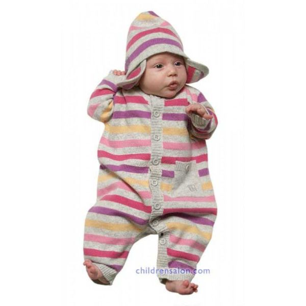 shop look BONNIE BABY Baby Girls Pink & Grey Cashmere Blend Romper