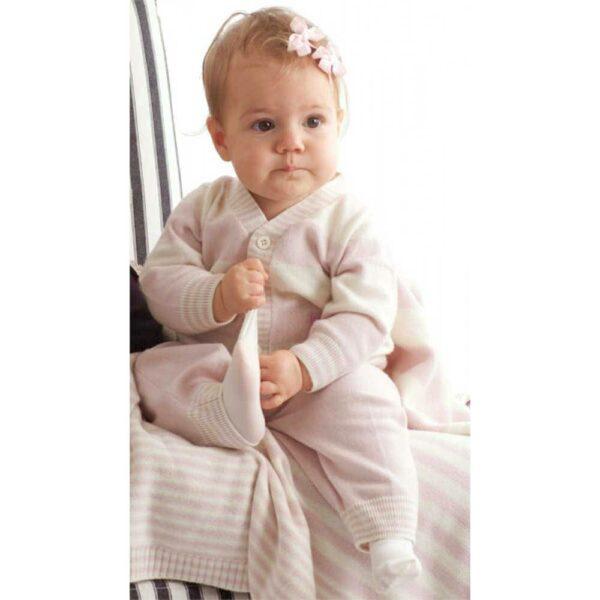 shop look BONNIE BABY Baby Girls Pink Stripe Cashmere Cardigan
