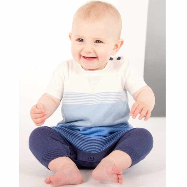 shop look BONNIE BABY Boys Blue Knitted Cotton Romper