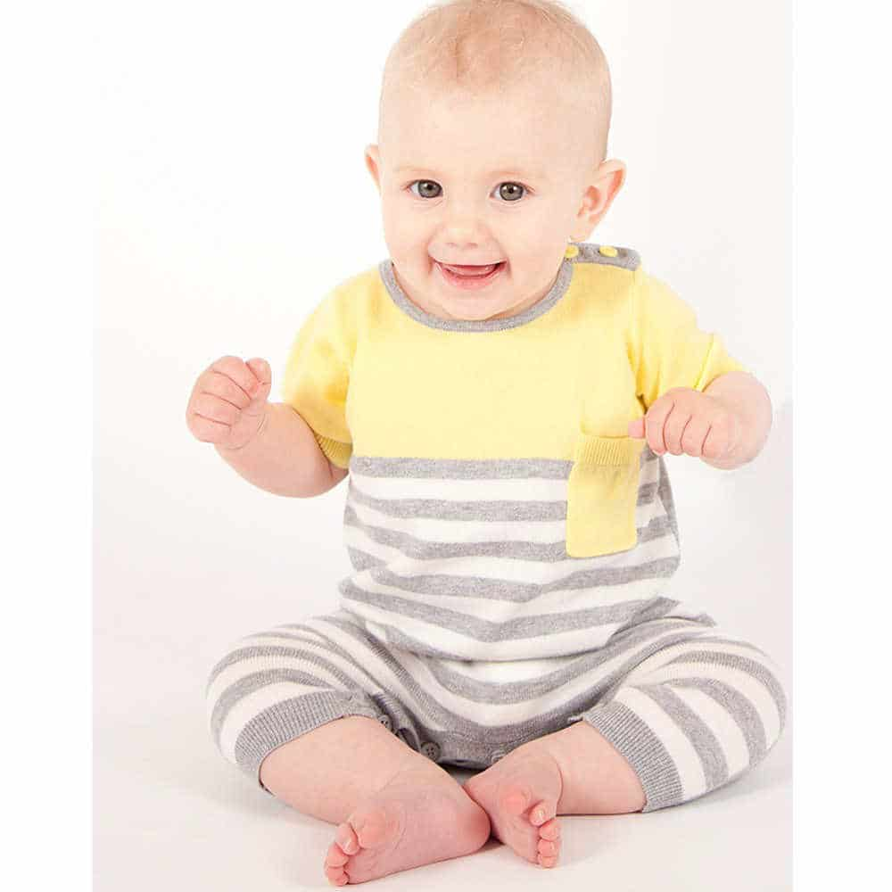 shop look BONNIE BABY Yellow and Grey Knitted Cotton Romper