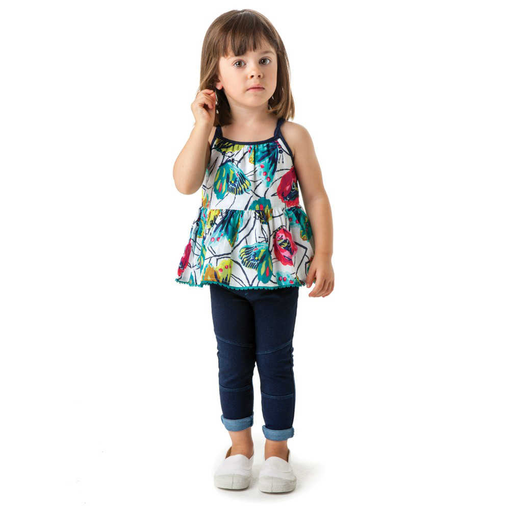 shop look Butterflies Print Peplum Sleeveless Top