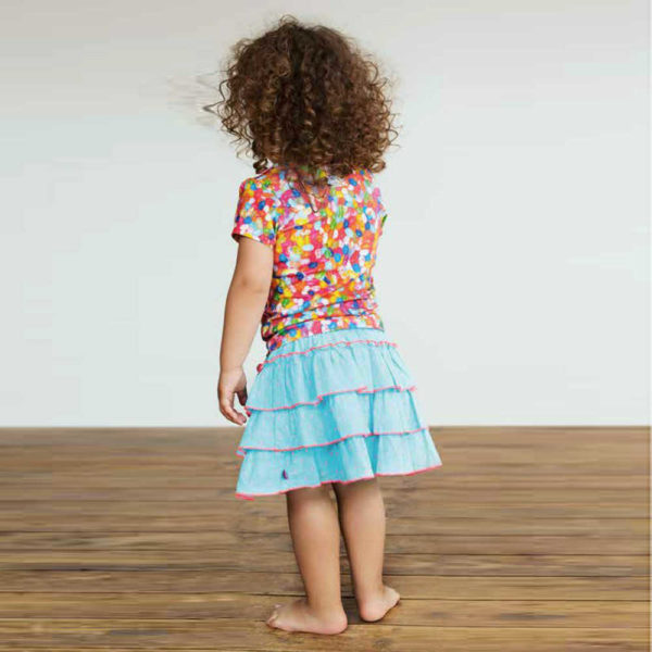 shop look CAKEWALK Bright Blue Tier Skirt with Coral Pink Spots