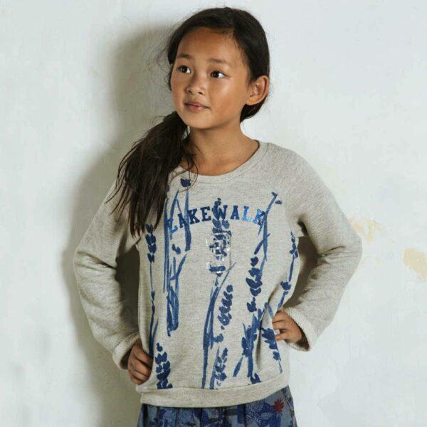 shop look CAKEWALK Girls Grey Sweatshirt with Blue Flower Print