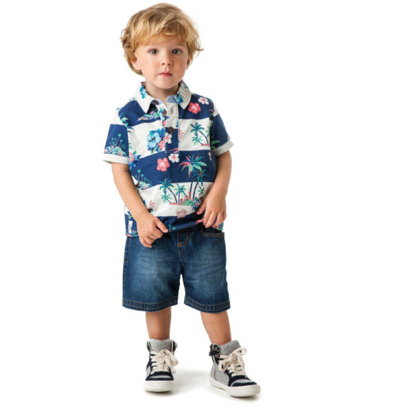 shop look CATIMINI Boys Striped Hawaiian Polo T-Shirt