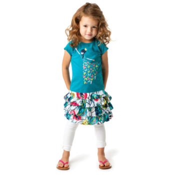 shop look CATIMINI Girls Oriental Butterfly Print T-Shirt