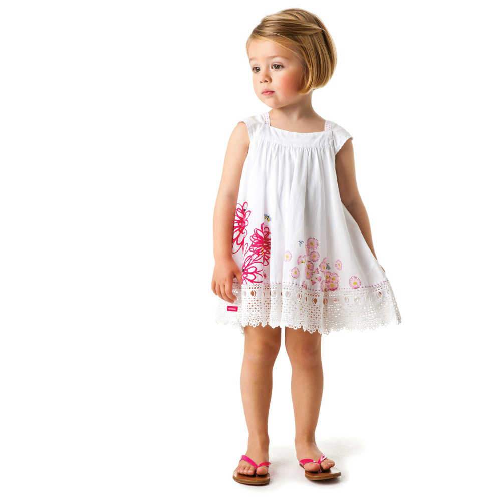 shop look CATIMINI White Cotton Floral Dress with Lace Hem