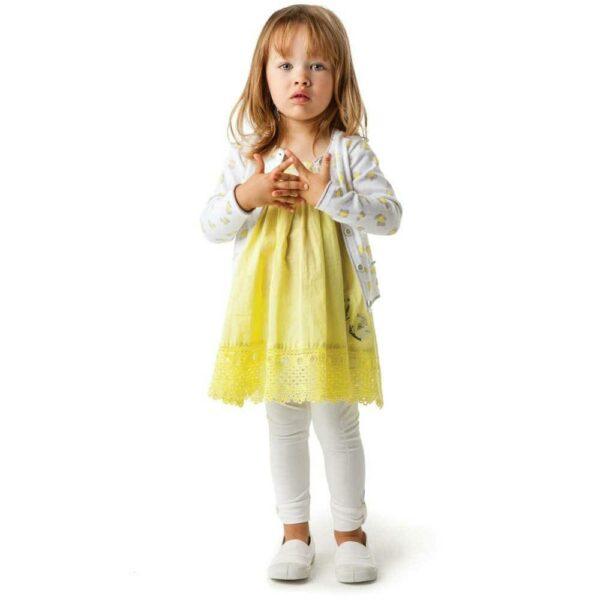shop look CATIMINI Yellow Dress With Crochet Hem