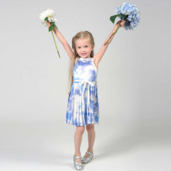 shop look CHARABIA Blue Cloud Print Dress with Ribbon Belt