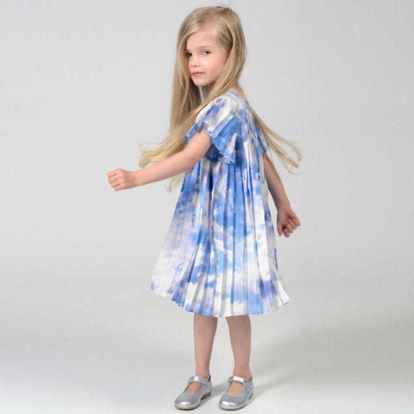 shop look CHARABIA Blue Cloud Print Pleated Dress