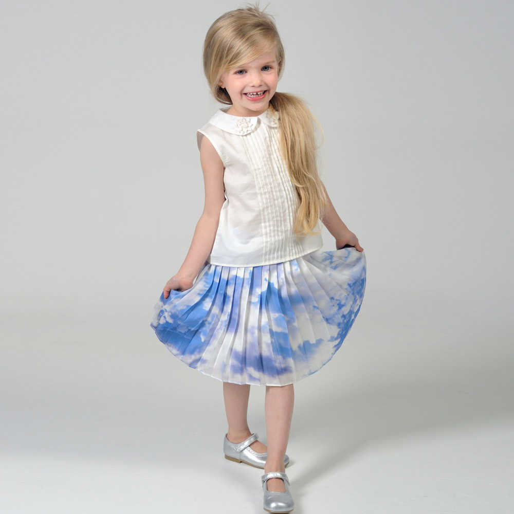 shop look CHARABIA Blue Cloud Print Pleated Skirt