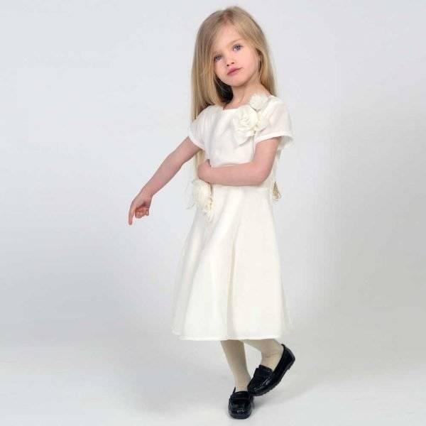 CHARABIA White Velvet Dress with Silk Roses Charabia White Velvet Dress with Silk Roses