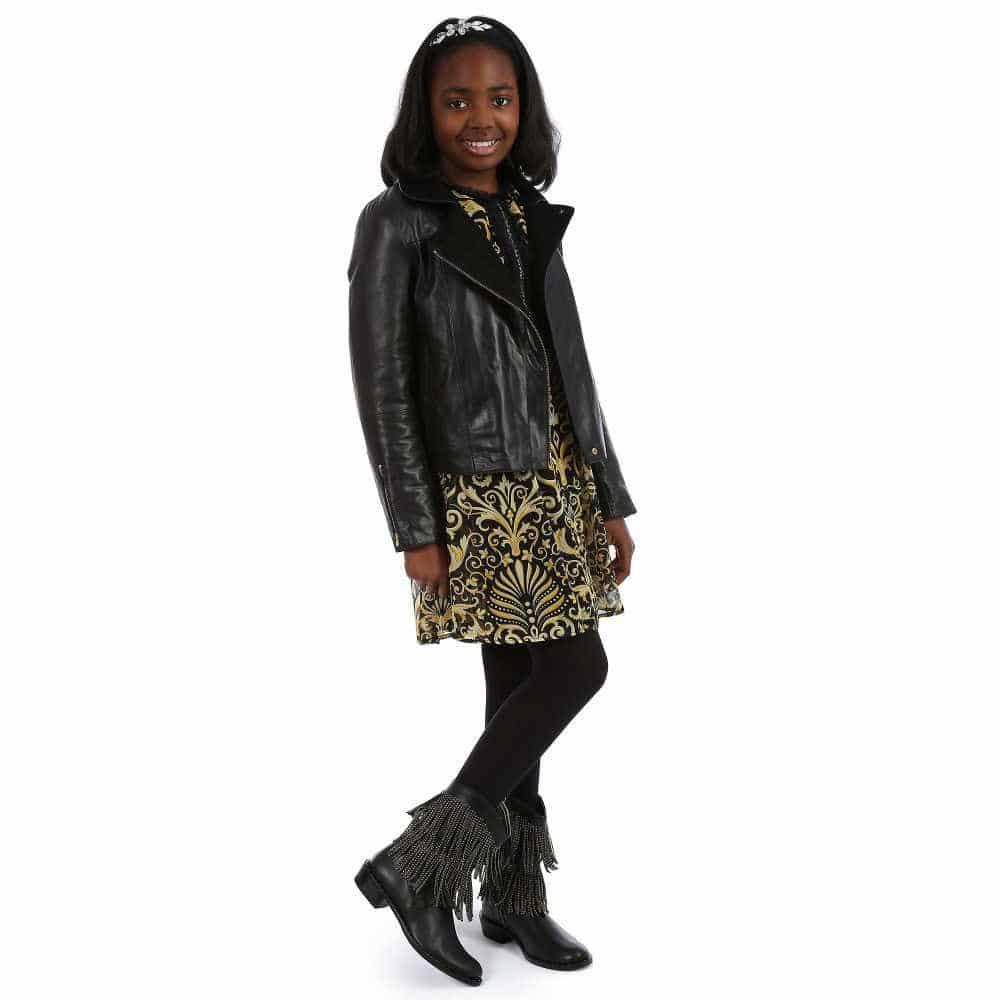 f023163b210 Chloé Girls Black Leather Jacket