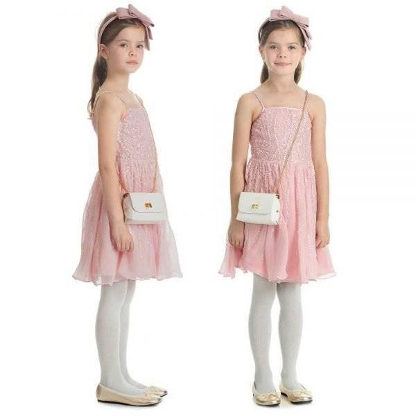 Derhy Kids Pink Sequin Chiffon Dress