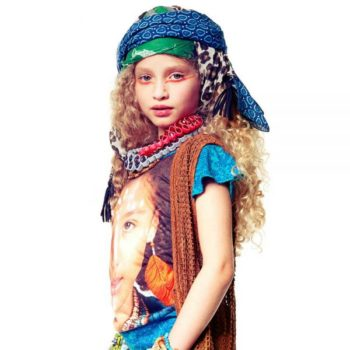 Desigual Kids Girls Ethnic Inspired Colorful T-Shirt with Wooden Beads