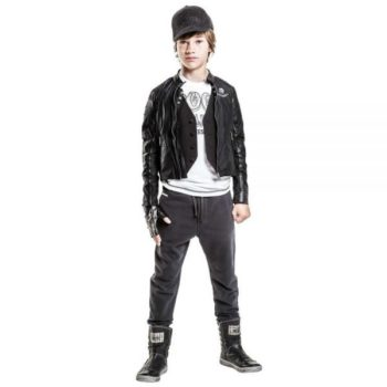 DIESEL KIDS BOYS BLACK BIKER STYLE JACKET