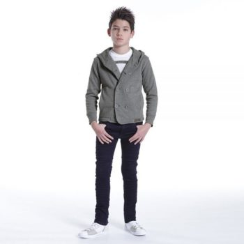DIESEL KIDS BOYS GREY COTTON JERSEY JACKET