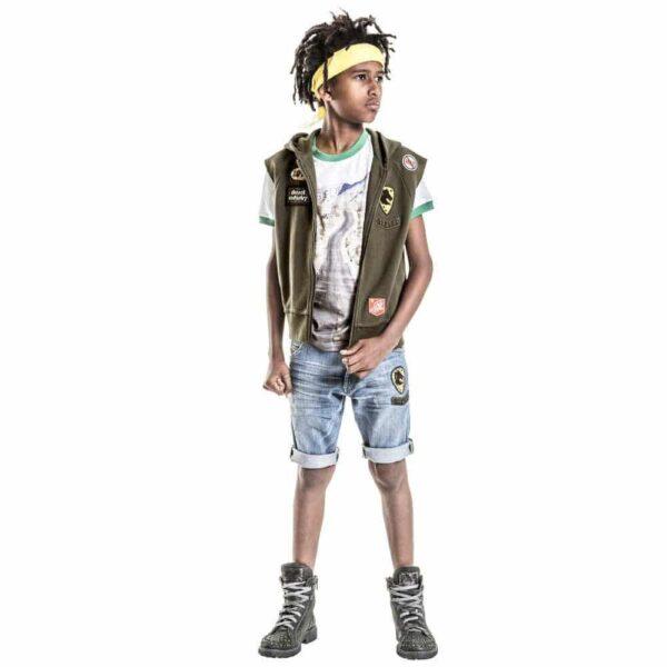 Diesel Kids Boys Khaki Green Sleeveless Zip-Up Sweatshirt