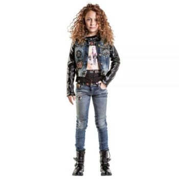 DIESEL KIDS GIRLS DENIM & LEATHER 30TH ANNIVERSARY JACKET