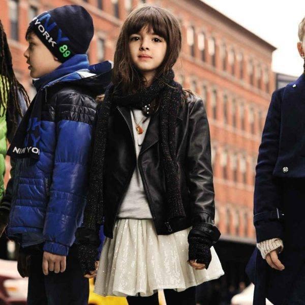 DKNY Girls Black Leather Biker Jacket