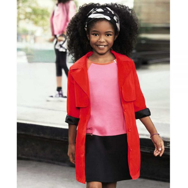 DKNY GIRLS RED WATER REPELLENT TRENCHCOAT