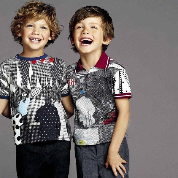 DOLCE & GABBANA Boys 'Sicilian Mambo' Polo Shirt Dolce & Gabbana Boys 'Sicilian Mambo' Polo Shirt