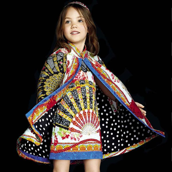 DOLCE & GABBANA GIRLS 'FAN PRINT' BROCADE CAPE