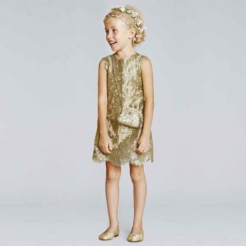 DOLCE & GABBANA GIRLS GOLD METALLIC LACE DRESS