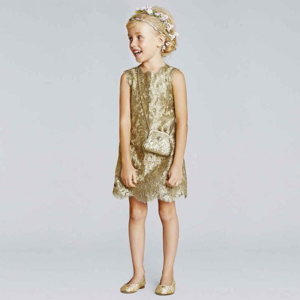 DOLCE & GABBANA GIRLS GOLD METALLIC LACE DRESS