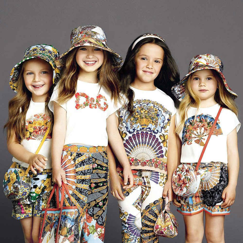 shop look DOLCE & GABBANA Girls Ivory Floral Logo T-Shirt