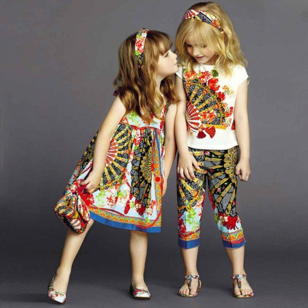 Dolce & Gabbana Red 'Fan Print' Cotton Cropped Trousers