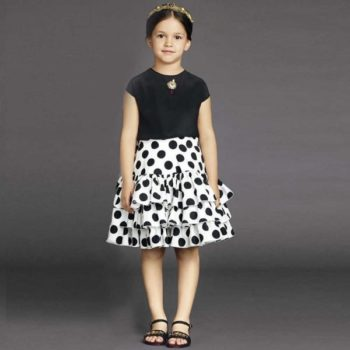 DOLCE & GABBANA WHITE & BLACK POLKA DOT RUFFLE SKIRT