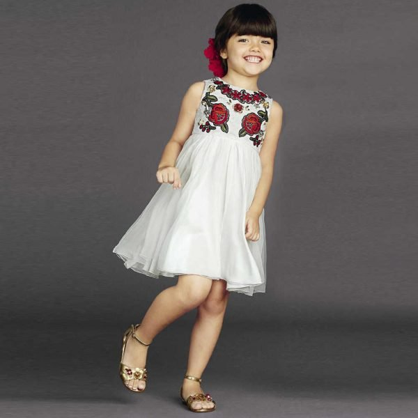 DOLCE & GABBANA WHITE SILK DRESS & RED ROSE JACQUARD BODICE