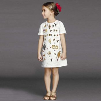 DOLCE & GABBANA WHITE SILK JACQUARD 'SACRED HEART' DRESS