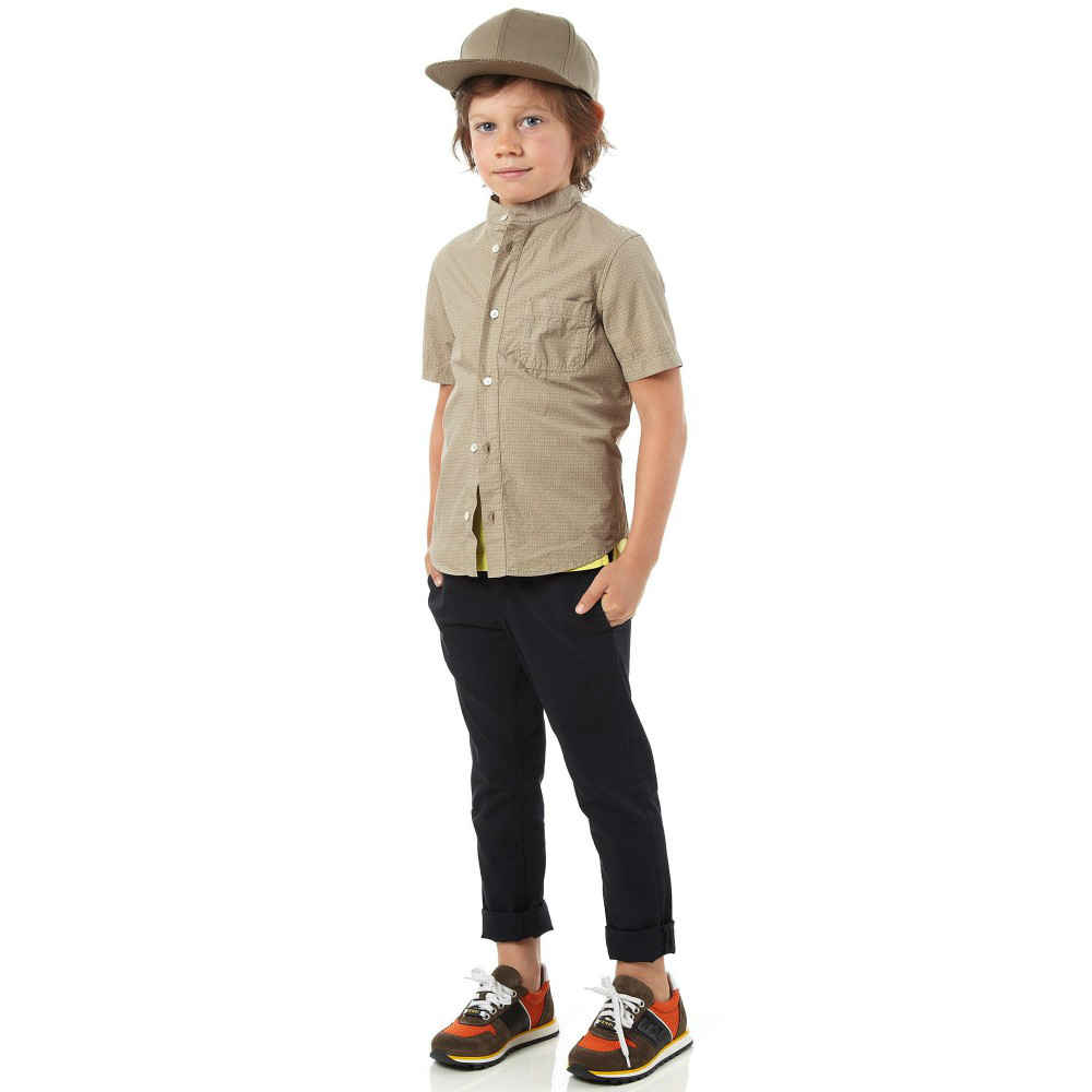 shop look FENDI Boys Beige Cotton 'FF' Logo Shirt